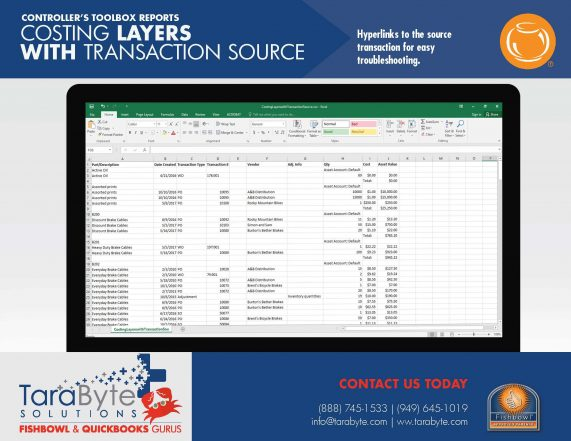Fishbowl Accounting Costing Layers with Transaction Source Report