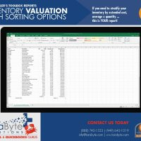 Fishbowl Accounting Inventory Valuation with Sorting Options Report